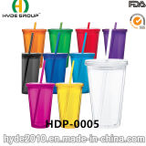 Customized BPA Free Plastic Tumbler with Straw and Lid (HDP-0005)