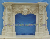 Home Decorative Natural Stone Mantel Marble Surround Carving Fireplace for Indoor Decoration (QY-LS256)