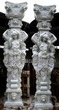 Garden Decorative Marble Carving Lady Statue Column Carved Stone Woman Figure Sculpture Pillars for Entrance Gate Porch Decoration (QCM109)