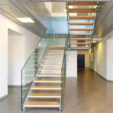 Inside Stair Modern House Residential Steel Stairs/ Floating Straight Staircase with Carbon Steel Stringer and Wood Steps Glass Steps Glass Railing