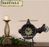 Vintage Decoration Antique Rustic Helicopter Shape Metal Table Top Clock