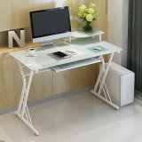 Home Office Computer Table with Modern Glass Tabletop Shape for Study Room