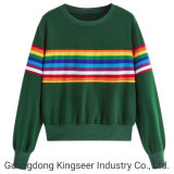 Wholesale Women Cheap Cotton Plyester Advertising Promotional Color Striped Rainbow Printing Long Sleeve T Shirt