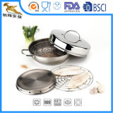 4 PS Stainless Steel Smoker Set with Frying Pan (CX-SR0401)