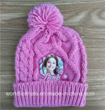 Customize Kid Knit Beanie Hat with Cartoon Pattern Printing and POM POM