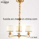 Arabian Bronze Chandelier Lights with White and Gold Fabric Shade D-6017/3
