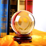Trasparent Crystal Glass Ball with Wooden Base or Crystal Base