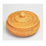 Rattan Handmade Woven Weaving Round Wicker Crafts Hamper Homeware Decorative Rattan Basket Basketware Storage Box Baskets with Lid