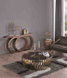 Hotel Furniture Console Walnut Top with Stainless Steel Leg