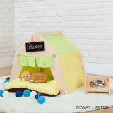 Strong Pine Wood Dog Tents Design Canvas Pet House