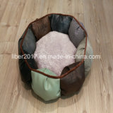 Luxury Leather Round Pet Product Beds Dog Cat Bedding Sofa Bed