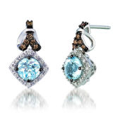 Hot Sales 925 Silver Dangle Earrings with Aquamarine Jewelry