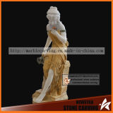 Color Clothes Stone Woman Statue Resting with Bottle