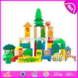 Wholesale Cheap 70 Pieces Funny Animal Pattern Wooden Kids Toy Blocks for Education W13b023