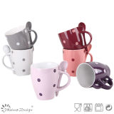 10oz Glazing with Dots Ceramic Mug with Spoon for Promotion