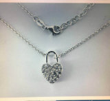 Modern 925 Sterling Silver Jewelry Necklace with Open & Close Heart Lock