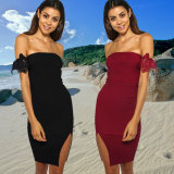 2018 Ladies Summer Dress Sexy Chest-Wrap off Shoulder Skirt