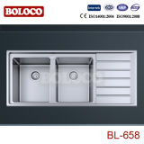 Stainless Steel Kitchen Sink/Basin (R20 angle, double-bowl with drain board) 1160*500mm Bl-658
