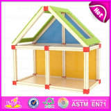 2015 Kids Wooden Toy Doll House, Classic Children Wooden Doll House Toy, DIY Cheap Doll House Furniture Toy Set W06A109