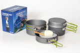 Outdoor Camping Aluminum Cookware Set with Folding Handles (CL2C-DT1614B-4)