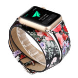 Spring Style Flowers Printing 38mm 42mm Leather Watch Strap for Apple Watch