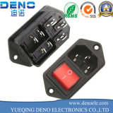 IEC320 C14 AC Power Cord Inlet Socket Receptacle with Rocker Switch 250V 15A