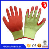 Cotton Lined Latex Coated Gloves with Crinkle Surface From Factory