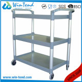3 Tiers Plastic Service Cart Dining Trolley Black Grey for Kitchen