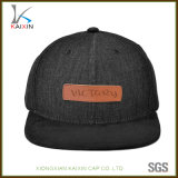 Wholesale Black Plain Denim Hat Leather Patch Cowboy Snapback Cap