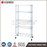 Multifunction 5 Tiers Light Duty Storage Rack Chrome Steel Wire Shelf with Nylon Wheels