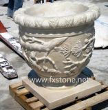 Carved Granite Flower Pot for Garden Decoration