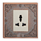 BS Standard Brass Wall Power Socket with Patterns