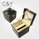 Black Square Croco Jewelry Case with Handle