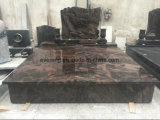 Aurola Granite European/Russian/American Style Tombstone/Monument with Custom Design