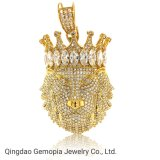 925 Silver 10K 14K Solid Gold Gorgeous Clear CZ Crown Lion King Pendant Fashion Jewelry