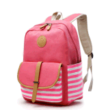 Cute Lightweight Canvas School Bag Casual Backpacks for Girls Pink