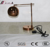 Decorative Metal LED Desk Lamp with Brushed Copper