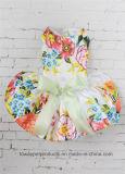Quality 2016 Design Luxury Flower Printing Bowtie Satin Pet Dress