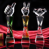 Tall Glass Crystal Thumbtrophy Award as Business Gifts (KS64022)