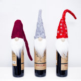 Santa Claus Beard Red Wine Bottle Cover Christmas Table Decoration