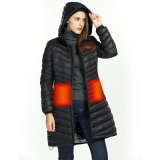 Winter Autumn Heated Goose-Down Jacket Lightweight Long Hooded Coat Th22099