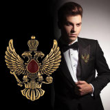 High-End Retro Wings Double-Headed Eagle Badge Brooch