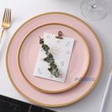 Paibee New 2020 Gold Rim Porcelain Plate Restaurant Plate Wedding Platter Party Serving Plate