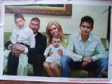 Handpainted Family Portrait Canvas Oil Painting as Gift
