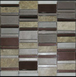 Random Strip Marble Mixed Glass Mosaic Tile