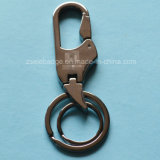 Black Nickel Finish Alloy Keychain with Double Rings (Ele-K033)