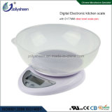 Factory Wholesales Digital Kitchen Scale with a Clear Bowl ABS Scale Pan and High Presicion Sensors Weighing Range 5kg Max Grey Housing or Customized