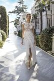 Sexy Beach Country Garden Bridal Gowns Lace Top Beaded Wedding Dress 2018