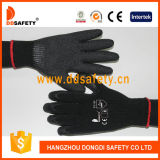 Cheap Black Latex Coated Black Cotton Liner Crinkle Finished Construction Work Gloves
