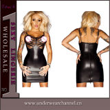 Transparent Hot Women Sexy Leather Lingerie Dress